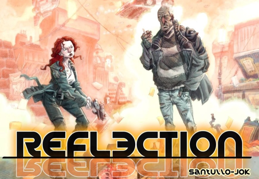 """Reflection"" began in Aces Weekly Volume 39. A cop at the top of his game is mysteriously murdered. As the police team investigate, his tough ex-partner, Walsh, seeks the killer in his own uncompromising manner... Now, in the force's Forensics building... © 2019 Jok and Santullo"