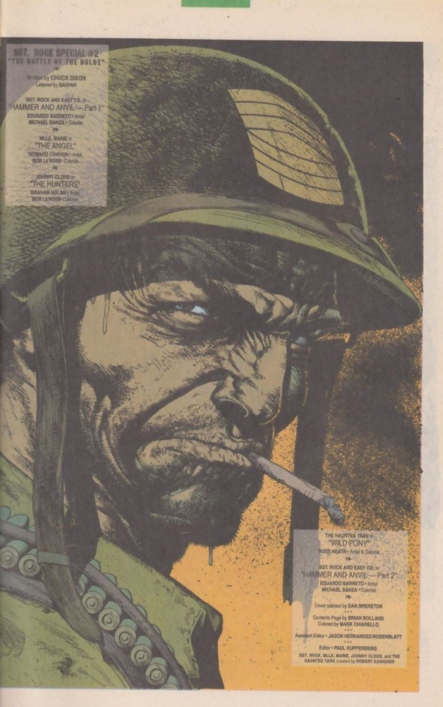 Sgt. Rock by Brian Bolland - as originally published in 1992, coloured by Russ Heath, as a frontispiece for the Sgt Rock Special #2