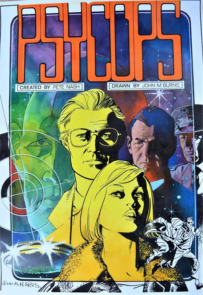 "This was to have been the cover for a ""Psycops"" album by John M. Burns, who drew many episodes of the strip, which eventually never happened... but might now. With thanks to Colin Brown"