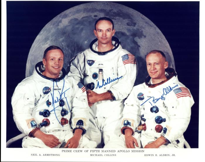 Official crew photo of the Apollo 11 Prime Crew. From left to right are astronauts Neil A. Armstrong, Commander; Michael Collins, Command Module Pilot; and Edwin E. Aldrin Jr., Lunar Module Pilot. Image: NASA