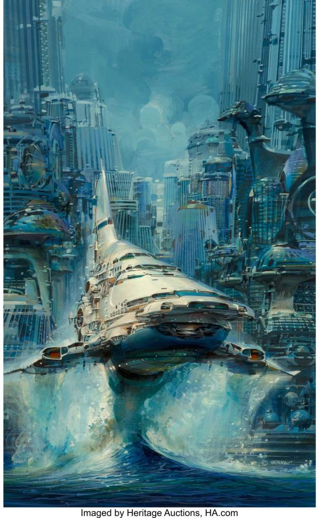 John Conrad Berkey's Run to the Stars paperback cover, 1986