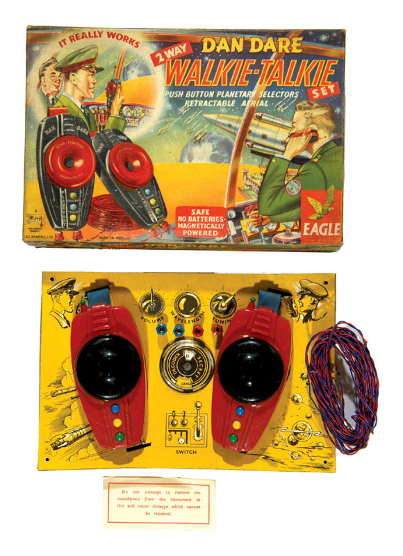 A Dan Dare 2 Way Walkie-Talkie Set (1953) produced by  J & L Randall Ltd. This collectible, sold by ComPal in 2012, was complete with two handsets secret decoder and two-colour wire connection 'It really works'.