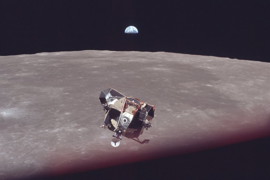 The Apollo 11 lunar lander Eagle, carrying Neil Armstrong and Buzz Aldrin after a walk on the moon, returning to the Columbia command module carrying Michael Collins, who took this photo, for the journey back to Earth.