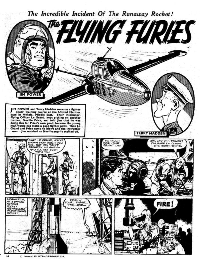 "A page from ""The Fighting Furies"" from an issue of Lion cover dated 11th June 1966, re-publishing the first Tanguy and Laverdure story ""L'Ecole des Aigles"" in English. Storu by Jean-Michel Charlier, art by Albert Uderzo"