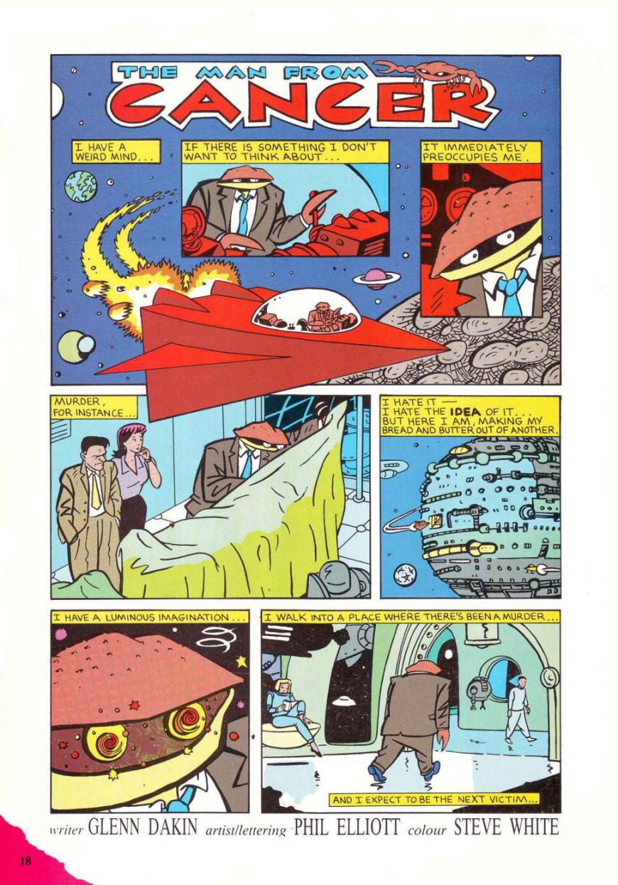 """""""The Man from Cancer"""" by Glenn Dakin and Phil Elliott makes its debut in Marvel UK's STRIP! Issue One, published in February 1990"""