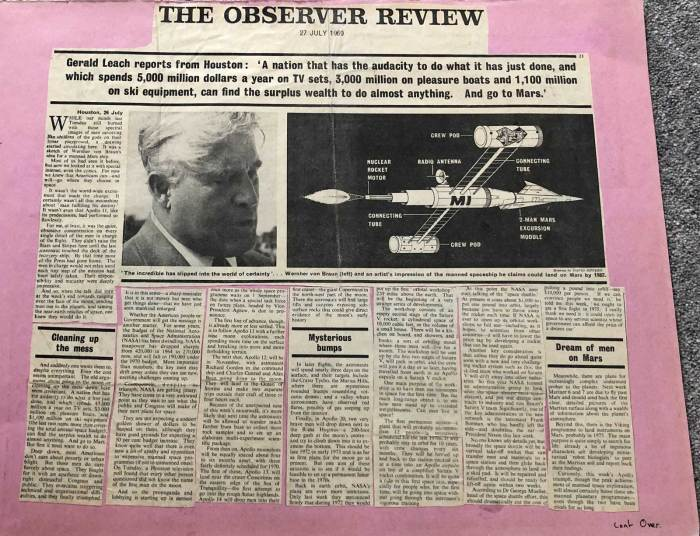The Observer Review, 27th July 1969 - Wishful thinking about the future of space exploration