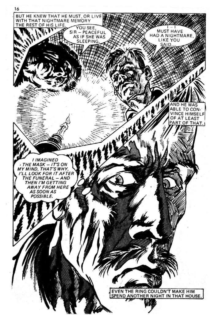 "A page from Pocket Chiller Library 49, ""The Finger"", art by Ian Gibson, published by Thorpe & Porter in the 1970s The Finger"