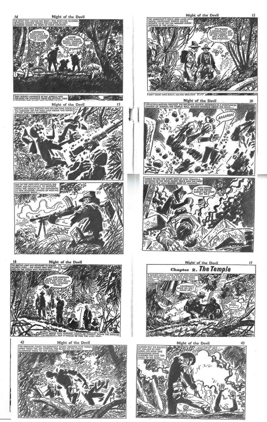"""Selected panels from """"Night of the Devil"""", from Battle Picture Library No.62. Art by Hugo Pratt. With thanks to Ron Tiner"""
