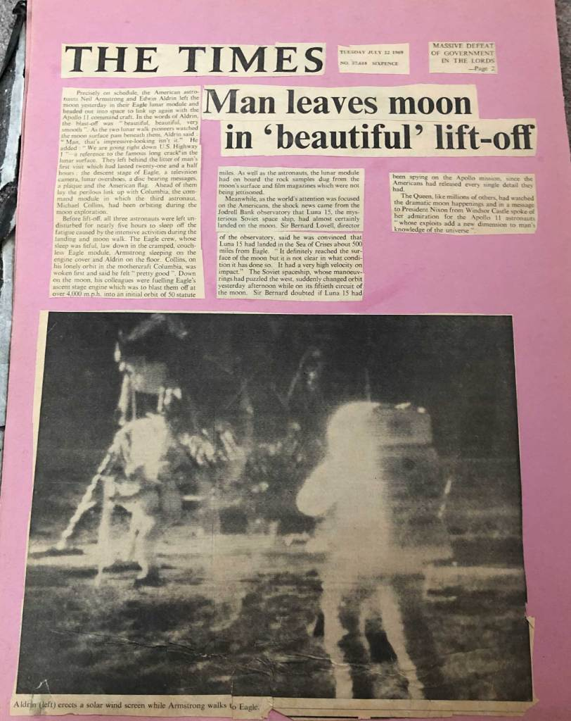 The Times, 22nd July 1969 - Apollo's Eagle leaves the Moon