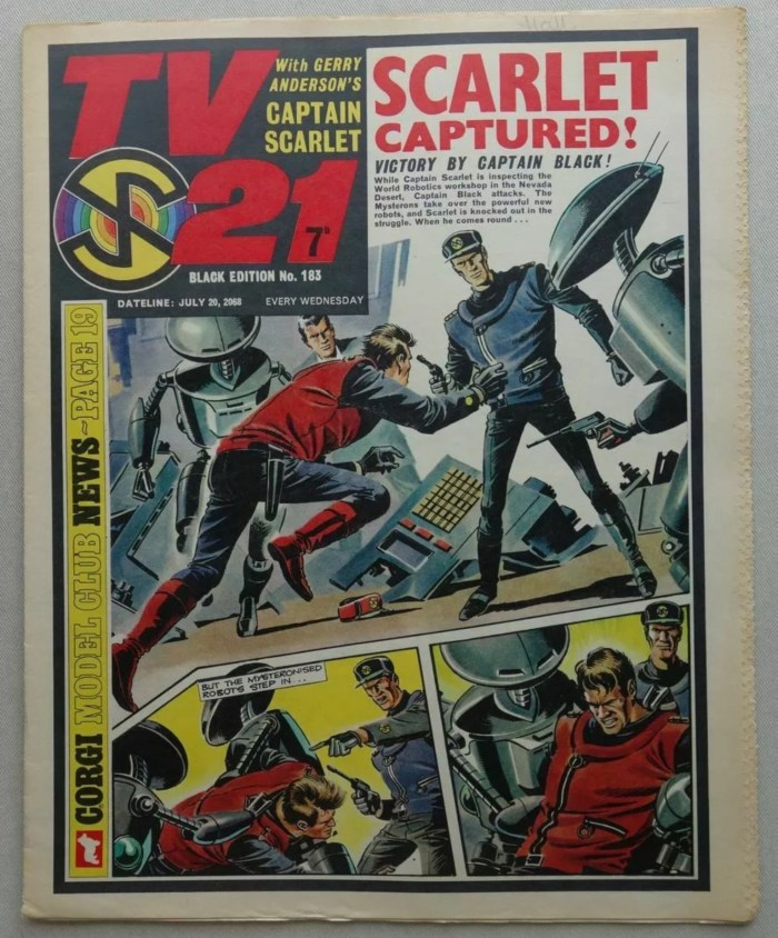"TV21 Issue 183, with a ""Captain Scarlet"" strip by by Mike Noble on the cover"