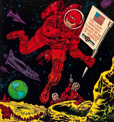 Art by Jack Kirby and Al Williamson for the cover of Race for the Moon, #3, Harvey Comics, 1958