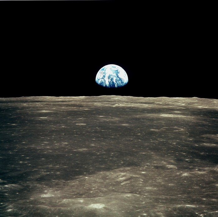 Earth and Moon, photographed during the Apollo 11 mission, July 1969. Image: NASA