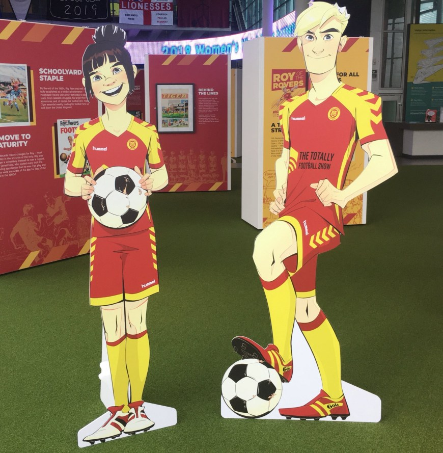 Rocky and Roy Race cut outs at the 65th anniversary Roy of the Rovers exhibition at Manchester's Football Museum. Image: Rebellion Publishing
