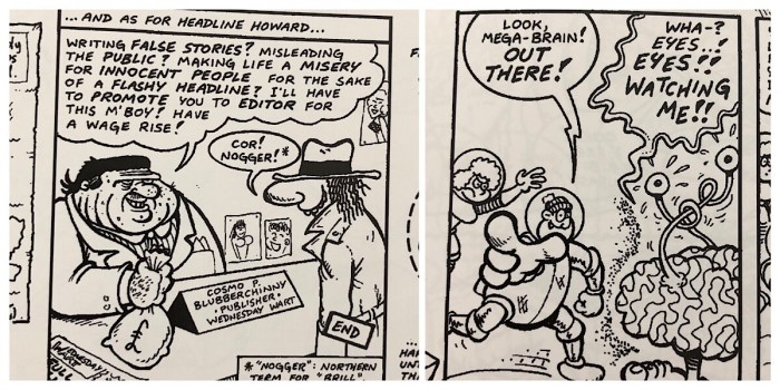 """Two great panels from different """"Combat Colin"""" stories in Combat Colin No.4, one jabbing a fork at gutter press journalism, the other breaking the fourth wall in style"""