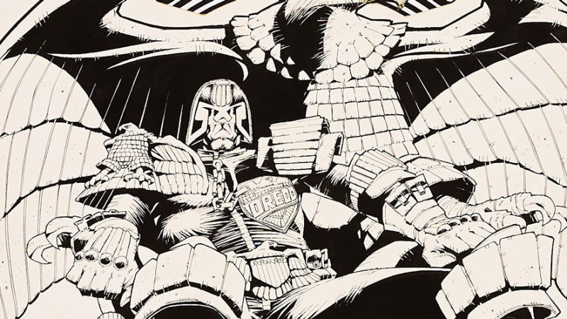 """Classic 2000AD """"Dredd"""" cover art by Mick McMahon on offer in latest Compal Comics auction"""