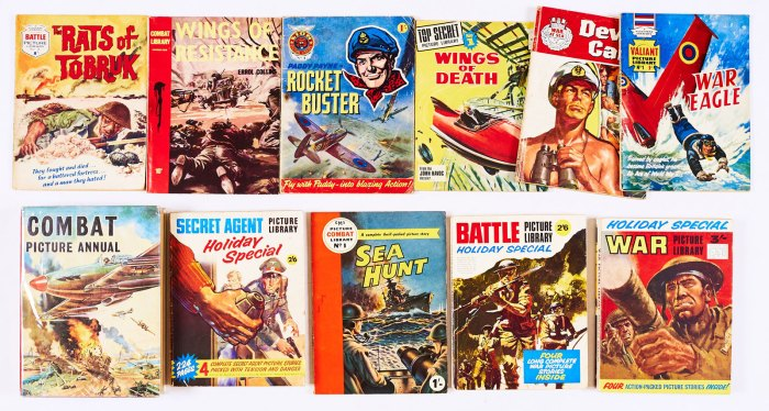 Battle Picture Library No 1 (1961). With Holiday Special (1967), Combat Picture Library No 1 (1951) with Combat Picture Annual (1962), Combat Library No 1 (text, 1959), Lion Picture Library No 1 (1963), Top Secret Picture Library No 1 (1974), Valiant Picture Library No 1 (1963), War at Sea Picture Library No 1 (1962), Secret Agent Picture Library Holiday Special (1968) and War Picture Library Holiday Special (1970)