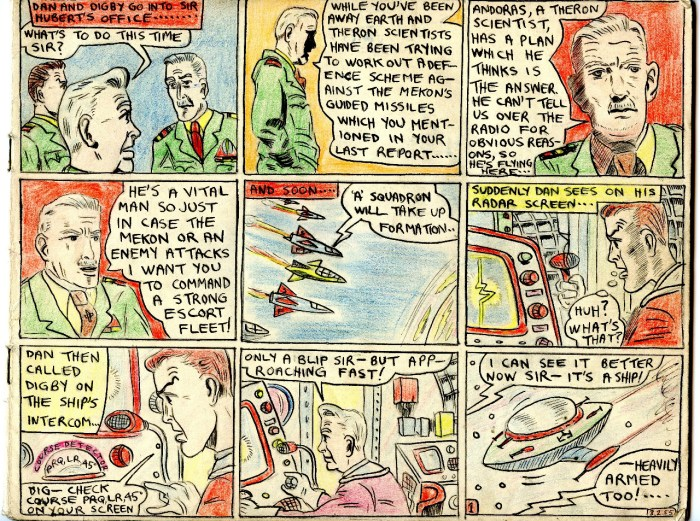 "A page from Philip Harbottle's comic strip adaptation of ""The Adventures of Dan Dare -Theron's Secret"""