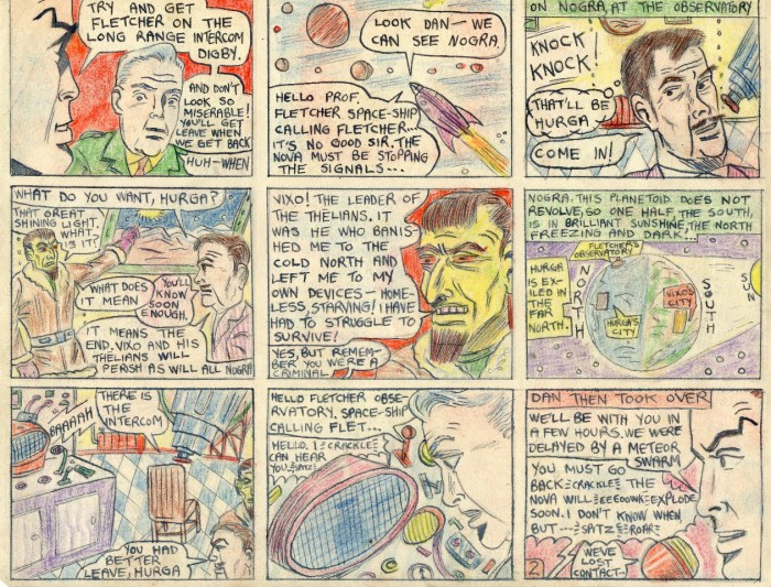 "A page from Philip Harbottle's comic strip adaptation of ""The Adventures of Dan Dare -When Worlds Rotate"""