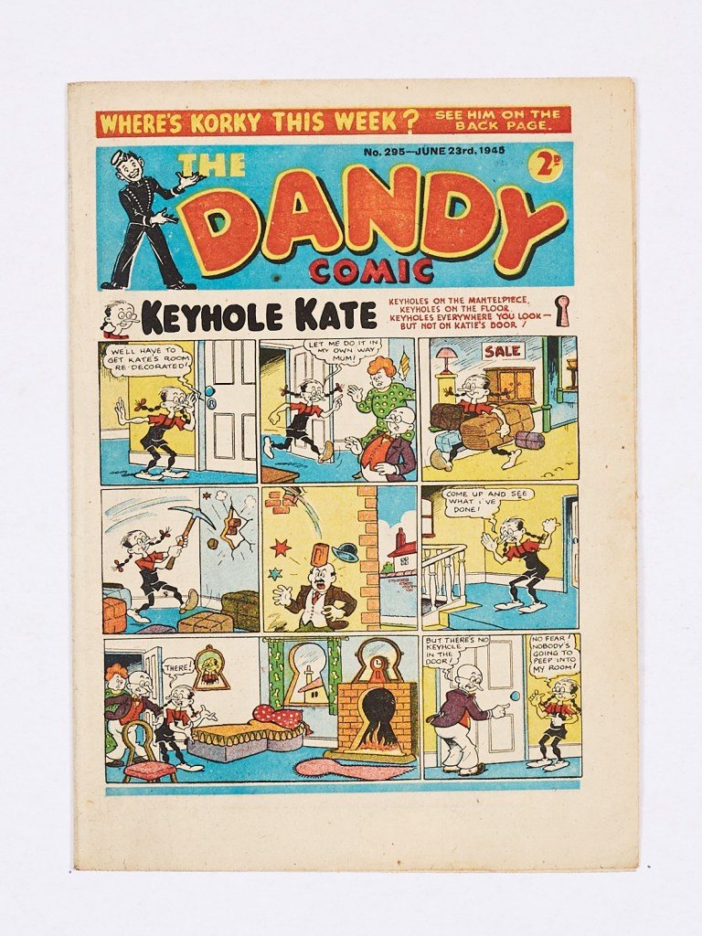 Dandy No 295 (1945). The first and only Keyhole Kate cover with Korky relegated to the back page
