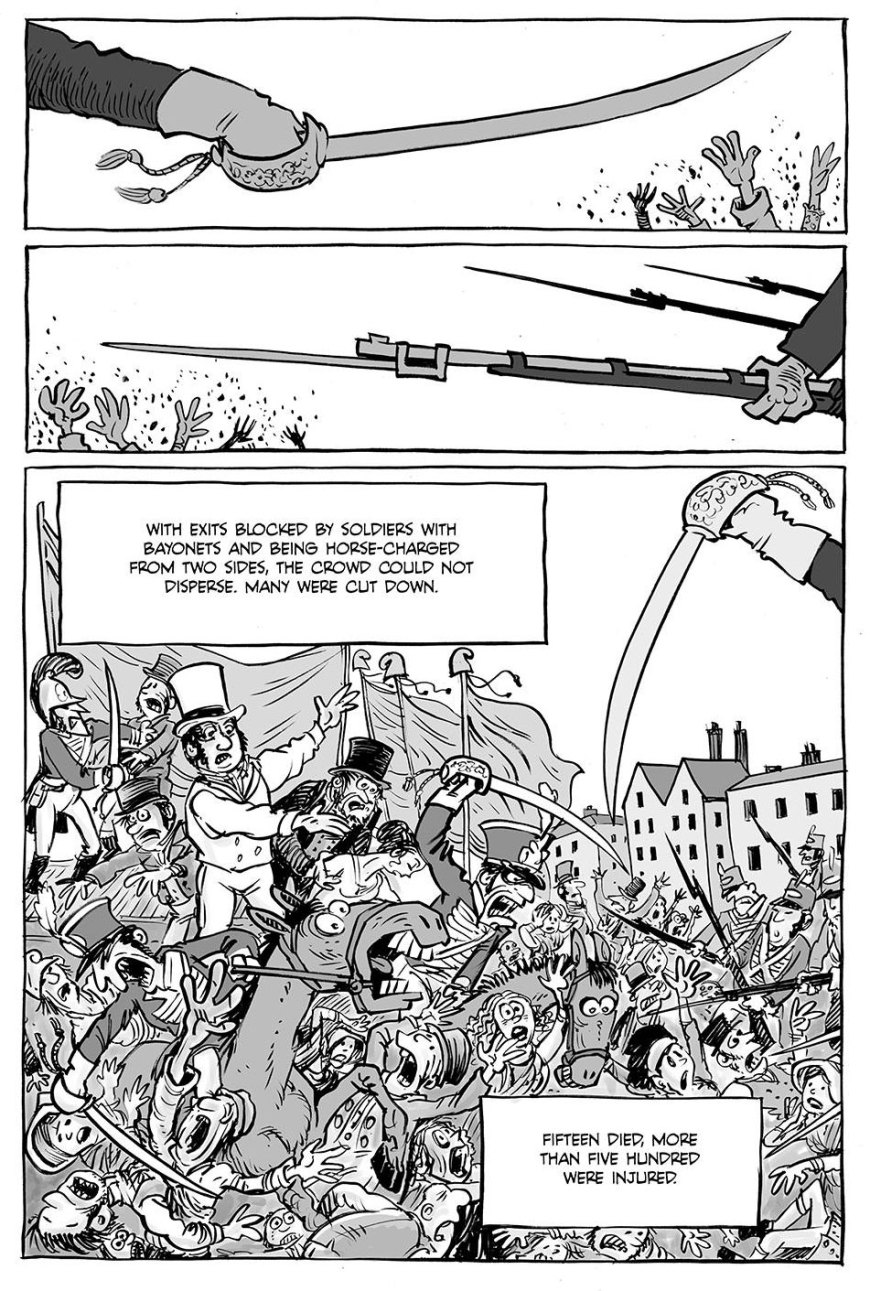 A page from the Peterloo chapter in Fight The Power, by Ben Dickson and Hunt Emerson