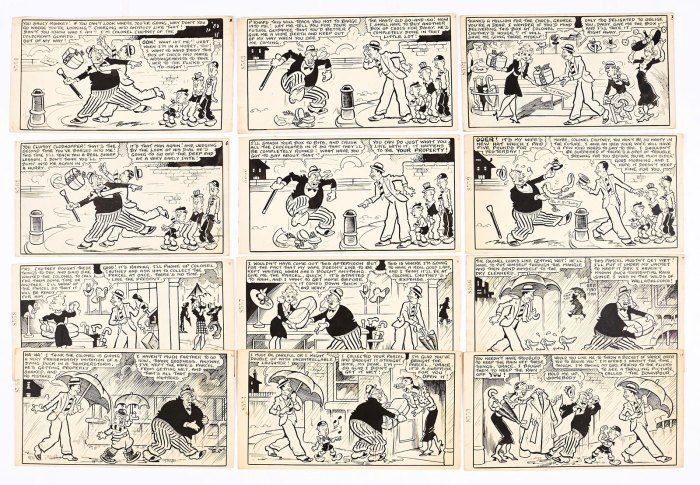 George Formby original artwork in 12 complete story panels by George Wakefield from Film Fun 16 May 1942. George bumps into Colonel Chutney who tramples his box of chocs, then the Colonel tramples his own box, then it starts to rain…