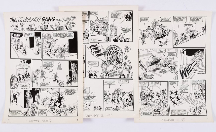 Krazy Gang artworks (1978) by Bob Hill from Krazy Comic. From the Bob Monkhouse Archive. Brainy, Sporty, Cheeky, Freaky, Liz, Ed and Blue visit the museum and foil a plot to steal the silver (silver foiled!)