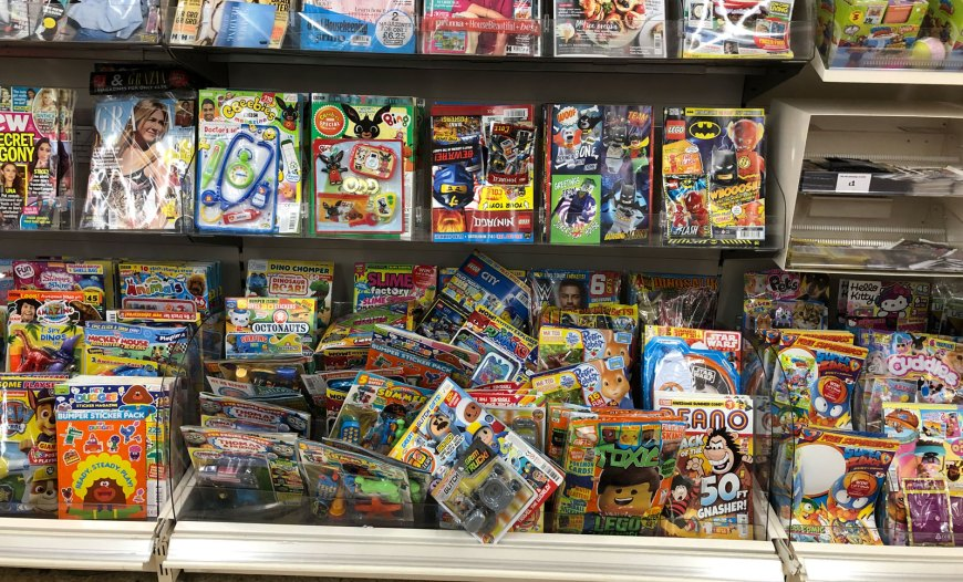 Just some of the comics and children's magazines on sale in Sainsbury's Lancaster, in August 2019