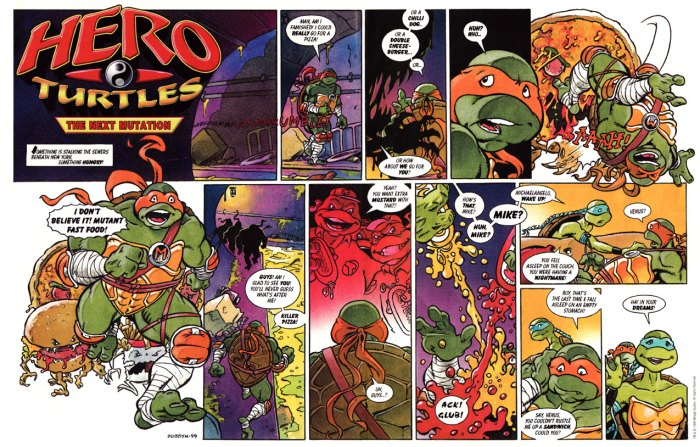 """Teenage Mutant Ninja Turtles"" for the BBC's FBX magazine, published in 1999. Art by Nigel Dobbyn. Just one of many licensed characters he worked on across his career"
