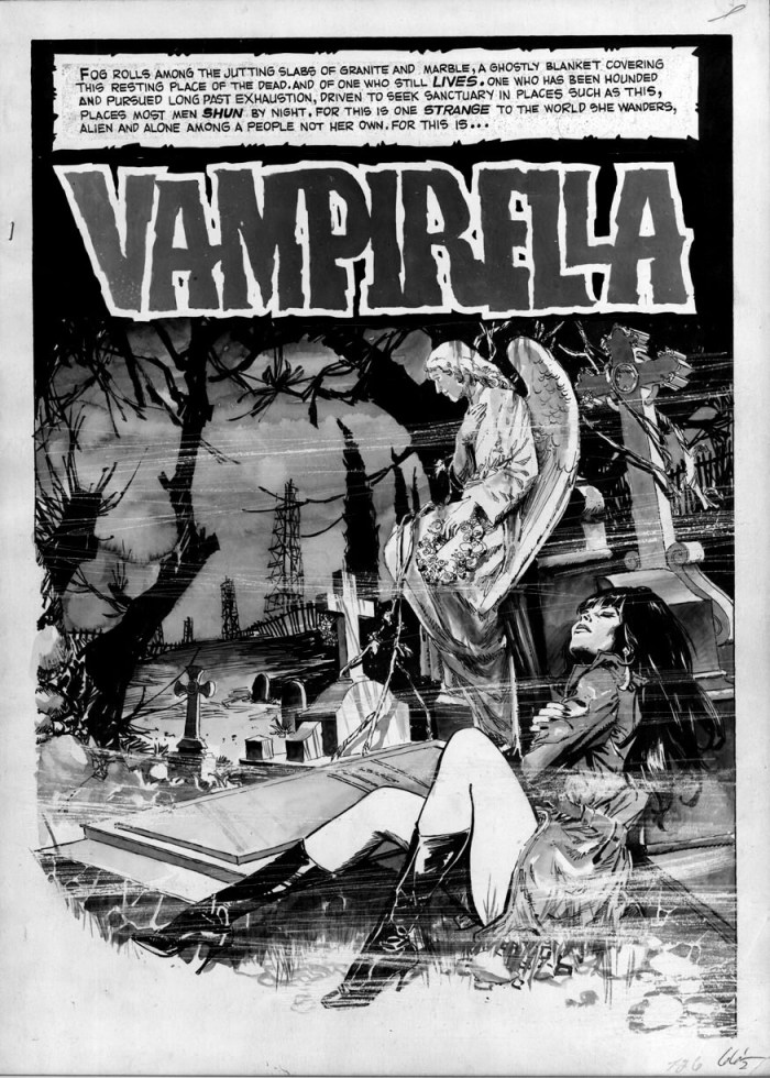 """The opening page of """"Death's Dark Angel"""" for Warren Publishing's Vampirella #12, with art by Jose Gonzalez, his first published work featuring Vampirella"""