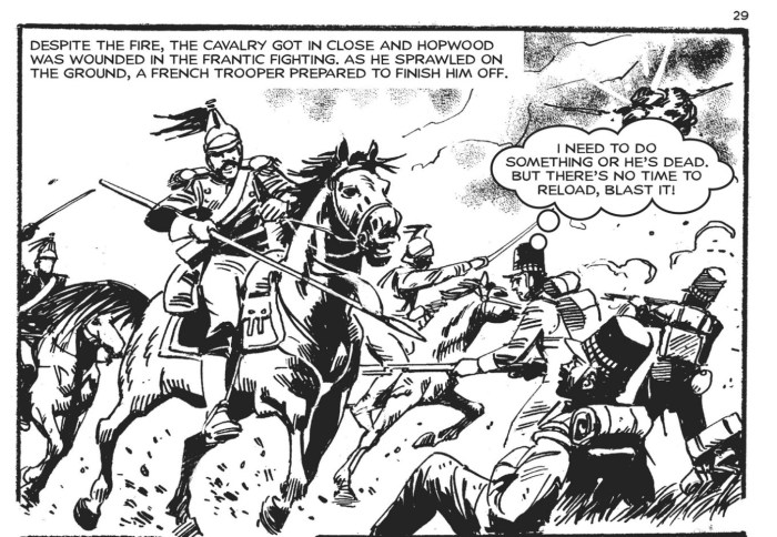 """A dramatic scene set during the Battle of Waterloo from Commando Issue 4843 - """"Peterloo!"""". Art by Carlos Pino"""