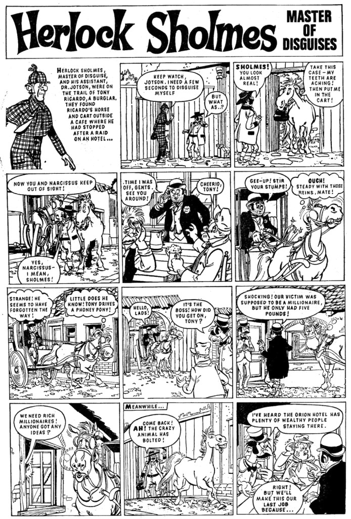 "A page from ""Herlock Sholmes"" - actually the strip's original title from the fourth issue of Giggle, published in May 1967"