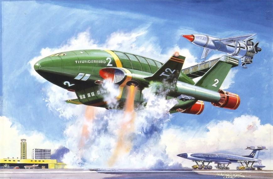"""""""Thunderbird 2"""" box art by Shigeru Komatsuzaki (1964)"""