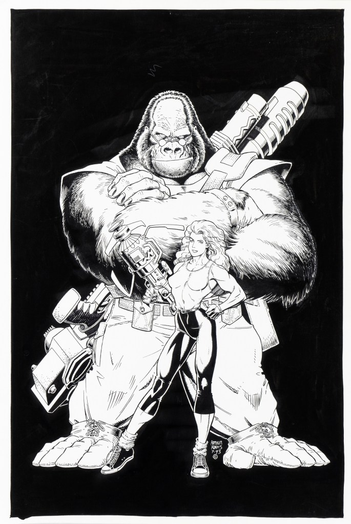 "Original illustration by Arthur Adams in July 1993 for the promotion of the first appearance of ""Monkeyman and O'Brien"" in the pages of Dark Horse Presents #80 in December of the same year"