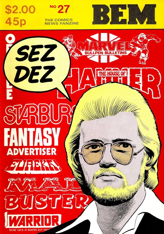 Dez Skinn on the cover of the comics magazine BEM (Issue 27), published in March 1980