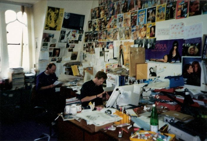 The Doctor Who Magazine, Office, circa 1990. That's me in the background, with designer Gary Gilbert beavering away on a spread for the short-lived