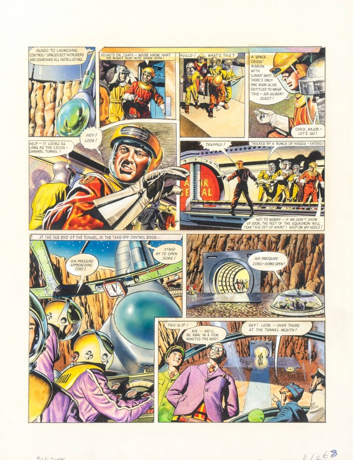 "A ""Dan Dare"" page from the story ""Safari in Space"", one of the last drawn and credited to Frank Hampson, a story on which he was assisted by Don Harley, Keith Watson and Gerald Palmer"
