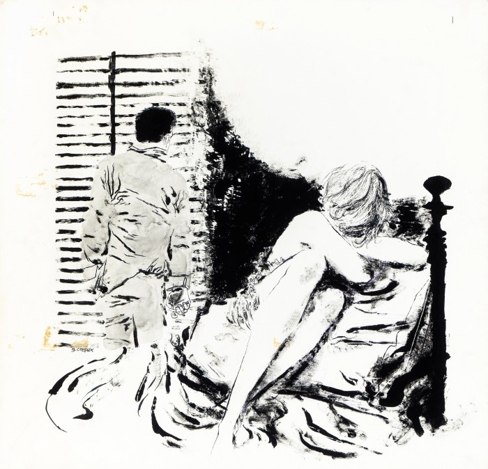 "Original illustration created by Crepax for the story ""The Window on the Square"" by Louise Marchi, published in Novella magazine in 1962"