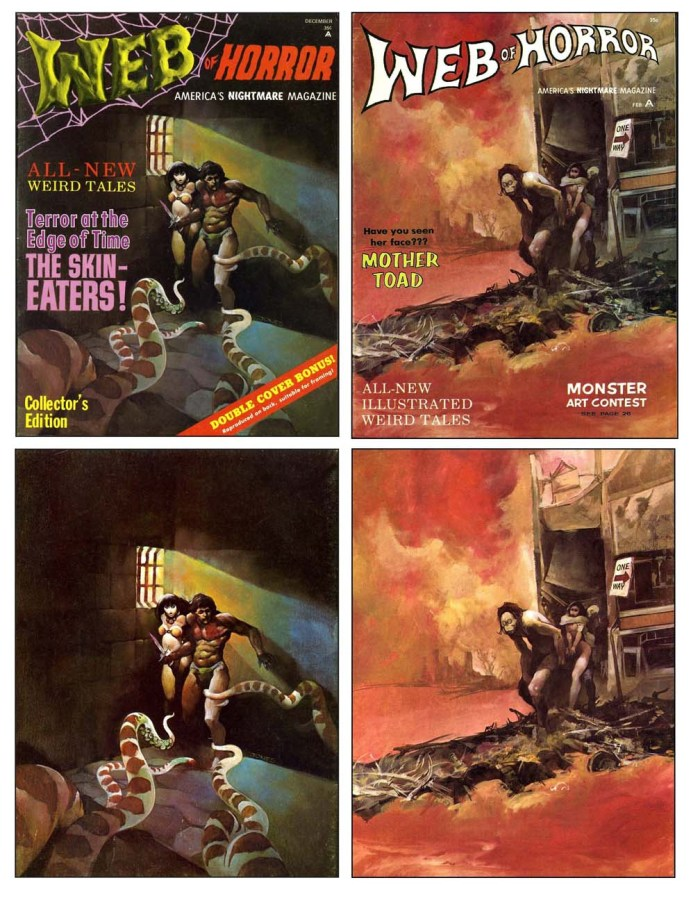 Covers and original art for Web of Horror by Jeffrey Jones, published in 1969