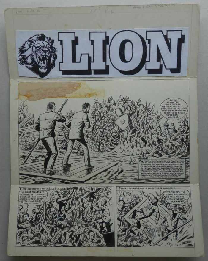 "A smashing ""Robot Archie"" cover strip for Lion by Ted Kearon, cover dated 2nd February 1965"