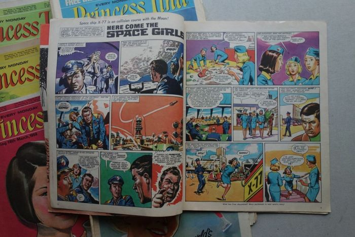 "A ""Here Come the Space Girls"" spread from Princess Tina comic (1967-1970)"