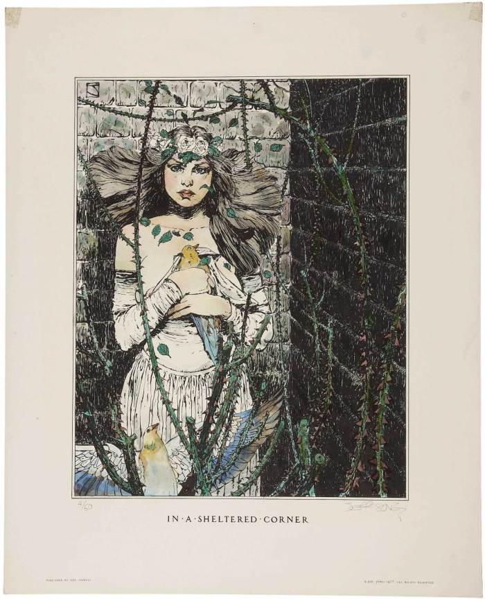 "Jeffrey Jones, ""In a Sheltered Corner"" (Idyl Impress, 1977), hand-coloured, limited-edition lithograph, 17 x 21 inches 