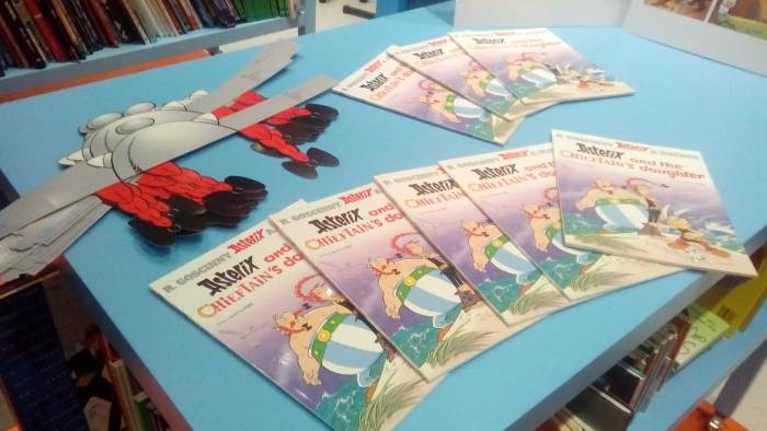 "Copies of ""Asterix and the Chieftain's Daughter"" on display at the Cartoon Museum-hosted book launch. Photo: Richard Sheaf"
