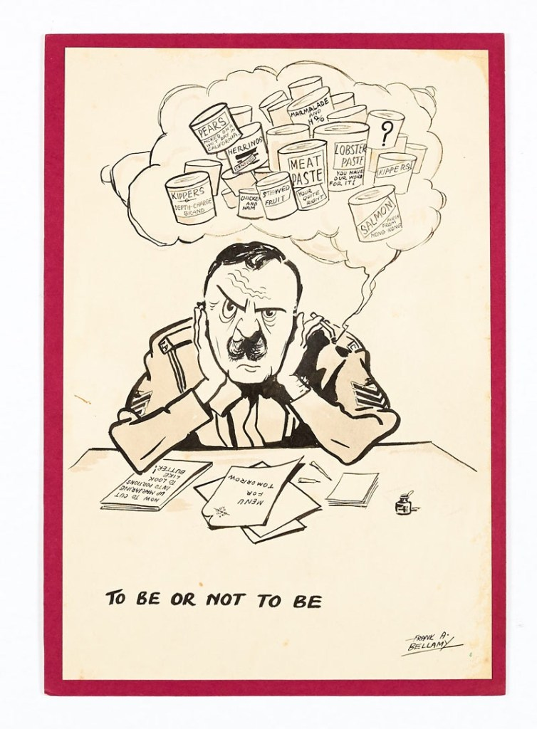 A Frank Bellamy original signed sketch (1940s) 'To Be or Not To Be'. The Catering Corps Sergeant in a dilemma over the troops tinned rations menu. (Probably hung in the Sgt's Mess!) From the Bob Monkhouse archive