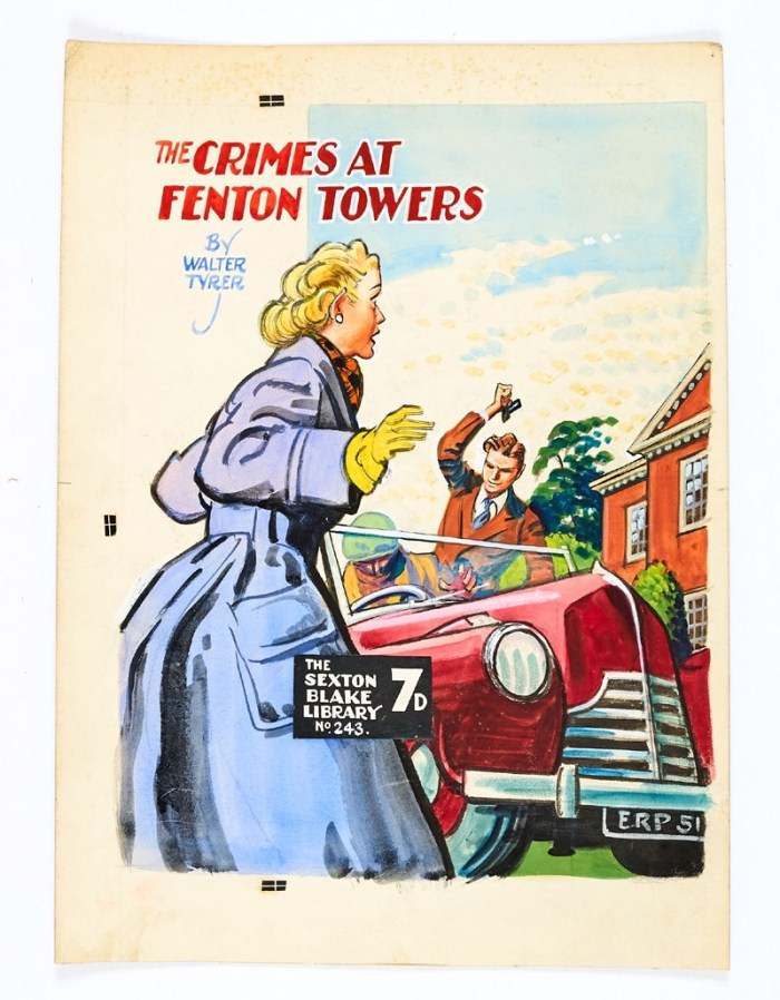 Sexton Blake: The Crimes at Fenton Towers original cover artwork by Eric Parker for Sexton Blake Library No 243 (1951). Parker clandestinely initialled his work via the car's number plate 'ERP 51' adding the year. Bright poster colour on board. 14 x 19 ins