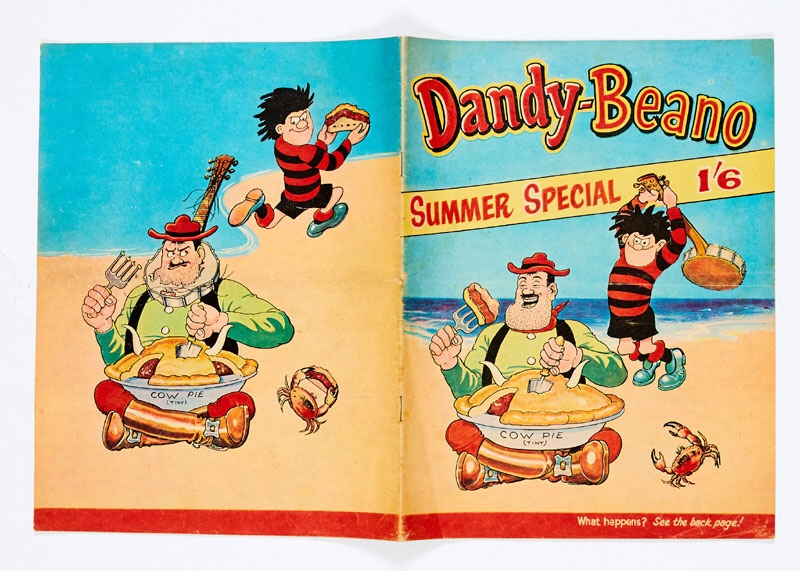 Dandy-Beano Summer Special (1963). The first DC Thomson publication to combine Beano and Dandy characters. Dennis the Menace, Desperate Dan, Biffo, Korky, General Jumbo, Minnie the Minx, Corporal Clott and Roger the Dodger - all present and incorrect!