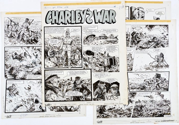 Charley's War: Four original artworks by Joe Colquhoun from Battle-Action 269 (1979), forming a complete episode.The German 'Judgement Troopers' seize the British front line in October 1916 tying wounded British soldiers to the stake, exposing them to a counter attack which Charley Bourne and the Westshires ignore, charging headlong into the Boche flamethrowers... Indian ink on cartridge paper. 17 x 15 ins each (4)