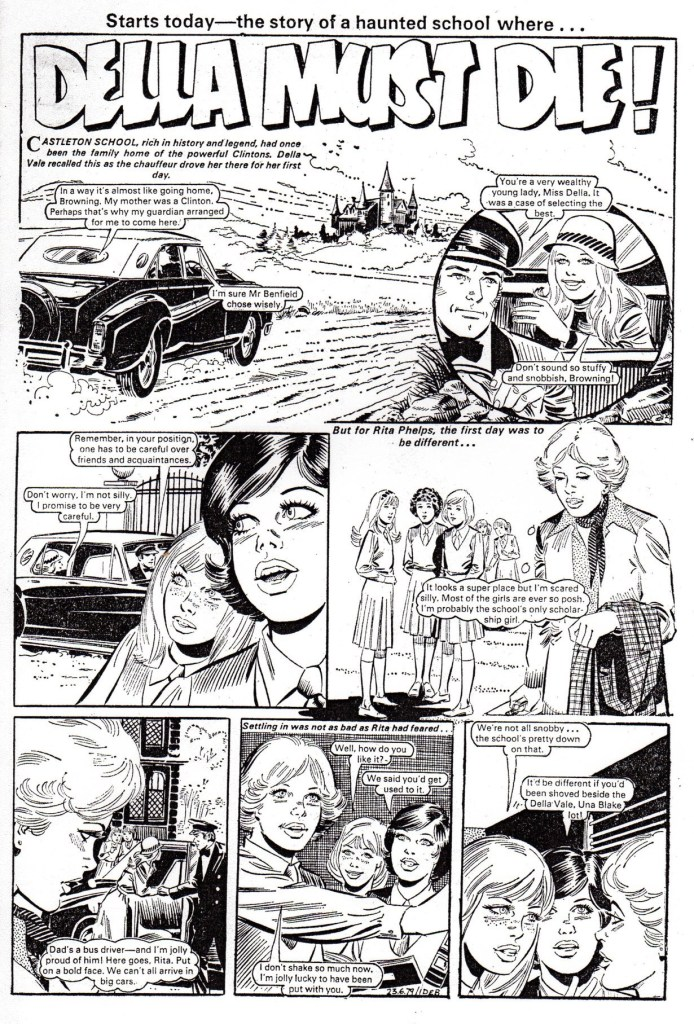 """Could Andres Klacik be another new name in British comics? Here's what is believed to be an example of his work, """"Della Must Die"""", from a 1979 issue of Debbie"""