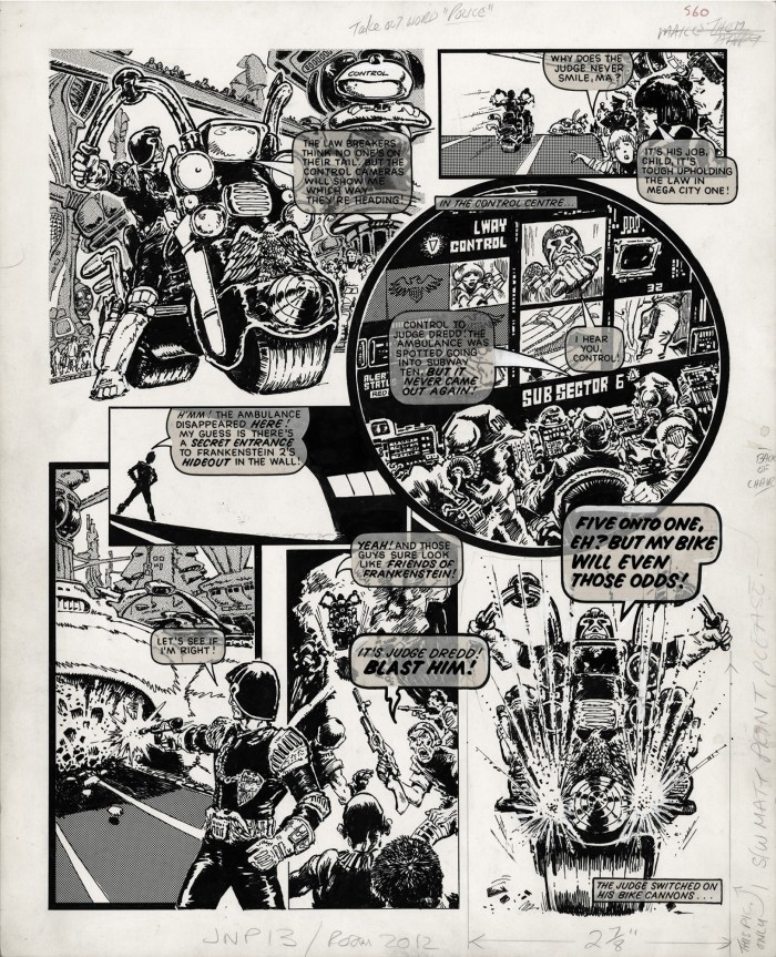 The last panel of this page was used in ads for 2000AD - and in Prog 1. It's the first ever published image of Judge Dredd