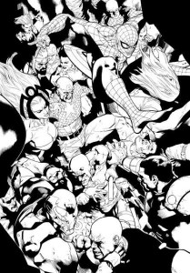 Gerry Alanguilan's inks over Leinil Francis Yu for Civil War 2 #1 (Marvel Comics, 2015)