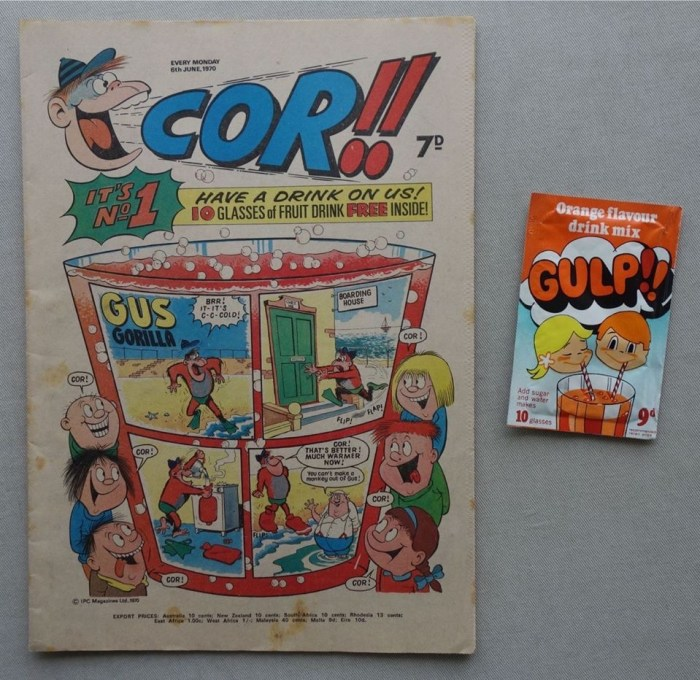 Cor!! Number One, cover dated 6th June 1970, with Gulp Drink Powder free gift